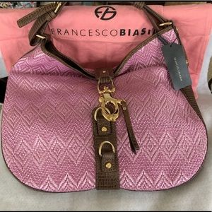 New Francesco Biasia Leather and Woven Bag